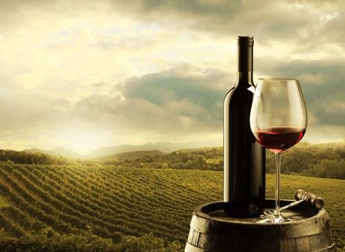 en profitant du coucher de soleil avec un bon vin israeli